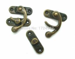 Wholesale Metal Purse Handles Wholesale - Wholesale- 50 Sets Metal Hook Box Latches Clasp Box Lock Handle DIY Handmade Bag Parts Purse Antique Bronze 4 Holes 2.6cm x 2.3cm J1841