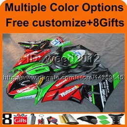 Wholesale Kawasaki Zx6r Fairings Black Green - 23colors+8Gifts Fairing Body Kit For Kawasaki Ninja ZX6R 2009 2010 2011 2012 New Bodywork GREEN BLACK For Kawasaki Ninja ZX6R 09 10 11 12
