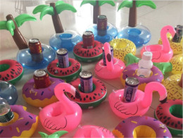 Wholesale Wholesale Inflatable Pool Floats - Flamingos Donut Watermelon Lemon Pineapple Inflatable Coasters Pool Donut Floating Bar Coasters Floating Drink Cup Can Holder Bath Toys