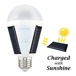 Wholesale Led Bulbs For Solar Lights - 12W Solar Bulb Solar Energy Rechargeable Emergency LED Camping Light Bulb for Hurricane Area, A19 Lamp Still Work after Power Outage
