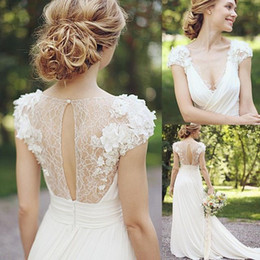 Elegante casamento vestido de casamento on-line-Elegante A Linha Jardim Vestidos de Casamento Decote Em V Ilusão de Volta Vestidos De Casamento com Apliques de Verão Chiffon Saia Vestidos De Noiva Do Casamento