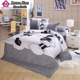 Wholesale Duvet Cover Minnie - Wholesale-100% Cotton 4 pieces bed linen mickey and minnie kids mouse bedding sets white and black duvet cover set king queen size