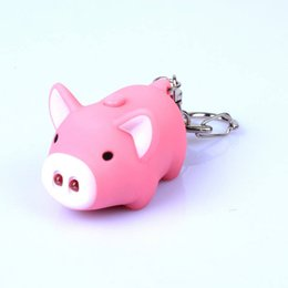 Wholesale Kids Classic Toy Cars - cute pig led keychains flashlight sound rings Creative kids toys pig cartoon sound light keychains child gift