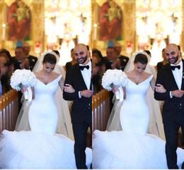 Wholesale Kim Kardashian Party Dresses - 2017 Kim Kardashian Mermaid Wedding Dresses Off Shoulder Tulle Puffy Court Train Wedding Party Bridal Gowns