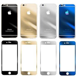 Wholesale Iphone Mirror Front Back - Gold Mirror Effect Colored Tempered Glass Colorful Screen Protector Front and Back For iphone 8 Plus 6s plus High Quality Explosion Proof