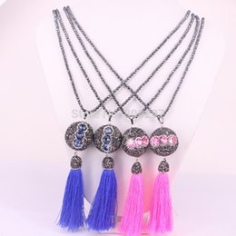 Wholesale Turquoise Bead Strand Necklace - 5Pcs Handmade Hematite Beads Necklace, Crystal Rhinestone Paved Tassel Pendant Long Sweater Chain Necklaces