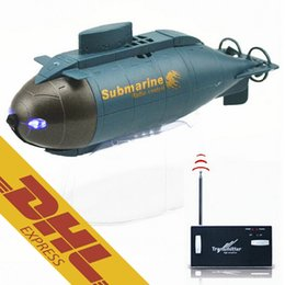 Wholesale Toy Submarines Radio Control - 24pcs lot Mini RC Submarine LED Light 6CH 4CH Radio Remote Control Boat 2 Colors Happycow 777-216 777-219 Toys for Kids Christmas Gift