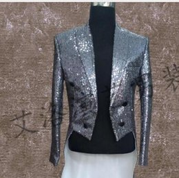 Wholesale Dance Costume Tuxedo - men tuxedo suits designs stage costumes for singers men sequin blazer dance clothes jacket style dress punk silver gold