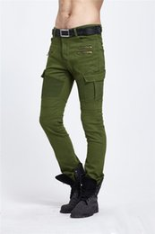 Wholesale Cheap Cargos - 2017 Cheap Biker Cargo Jeans Skinny Oversize Pocket Jeans Slim Fit Black Army Green Available Sale