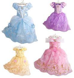 Wholesale Belle Pink - 2018 Girls Summer Dress Kids Cindrella Snow White Cosplay Costume Baby Girl Princess Dress Rapunzel Aurora Belle Dress Vestidos
