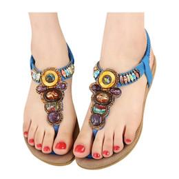 Wholesale Ladies Platform Shoes Elastic Band - Summer Flat Sandals Ladies Bohemia Beach Flip Flops Shoes Gladiator Women Shoes Sandles Platform Shoes