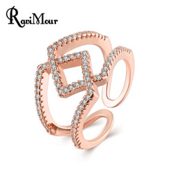 Wholesale Square Punk Rings - Fashion Anillos Mujer Wedding Jewelry Punk Geometric Square Zircon Rose Gold Silver Color Rings for Women Opened Bague Femme
