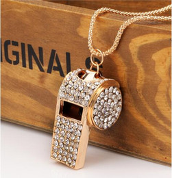 Wholesale Rhinestone Whistle - New Korean version alloy jewelry whistle necklace fashion wild necklace most popular white diamond sweater chain