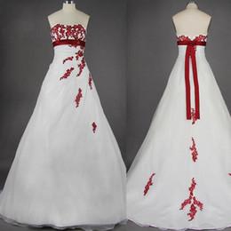 Vintage Design robes de mariée blanches et rouges sans bretelles taille haute ceinture Appliques dentelle une ligne robes de mariée taille personnalisée ? partir de fabricateur