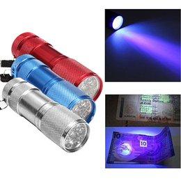 Wholesale Aluminum Flashlight Wholesale - Aluminum Alloy Portable UV Flashlight Violet Light 9 LED 30LM Torch Light Lamp Mini Flashlight 4 Color 2503029