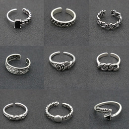Wholesale Stars Rings - 2018 Newly Increased 174 Designs Vintage 925 Silver Rings Adjustable Thai Silver Cross Feather Star Rings For Women & Men Party Jewelry Gift