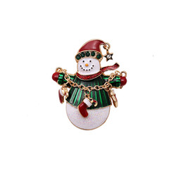 Wholesale Christmas Pins For Cheap - Wholesale- Christmas Snowman Gold Plated Costume Brooch Cheap Red Rhinestone Christmas Brooches Lot Collar Clip For Scarf Buckle