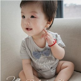 Wholesale Toddlers Jumpsuits Clothes - Baby Romper summer new toddler kids letter printed jumpsuit children short sleeve bow climb clothes baby boys girls cotton jumpsuit T1469