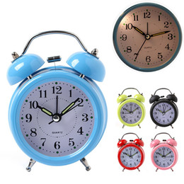 Wholesale Office Desk Styles - Hot Sale Alarm Clock Classical Double Bell Silent No Ticking Desk Table Alarm Clock Bedroom Office Bedside Clock JP0049