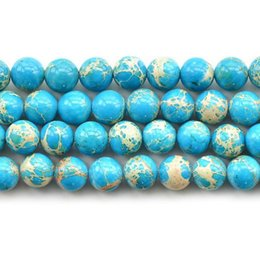Wholesale Pine Beads - Blue Imperial pine turquoise beads Natural Stone Top quality ore Round Loose ball 4 6 8 10 12MM Jewelry bracelet accessories DIY