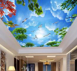 luxus tapete weiß Rabatt benutzerdefinierte Luxus 3D Wallpaper für Decken Blauer Himmel und weiße Zweige vlies 3D Decke Wandbilder wallpaper europäischen
