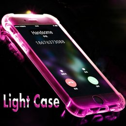 Wholesale Flash Edge - Call Lightning Flash LED Light Up Case Soft TPU Thin Shockproof Transparent Cover For iPhone X 8 7 plus 6 6s SE 5S 5 Samsung S8 S7 Edge