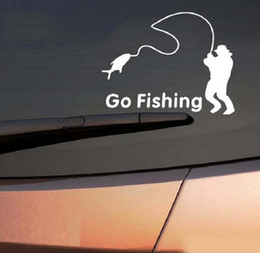 Wholesale Reflective Car Stickers - 14*11cm Reflective Car Stickers go fishing Decal cover anti scratch for body Light brow front back door bumper window rearview mirror