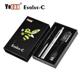 Cartucho c online-100% Auténtico Yocan Evolve-C Dry Herb Wax Starter Kit Cartucho de cera Atomizador 650mAh Batería QDC Quartz Dual Coil Desig Original
