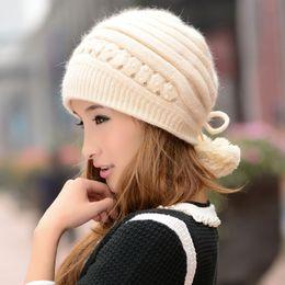 Wholesale Painter Acrylic - Wholesale-2016 New Casual Women Winter Hat Women's Rabbit Fur Knitted Hat Winter Knitted Beret Painter Cap 6 Colors BR-101