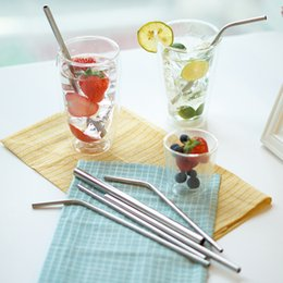 Wholesale Wholesale Bar Cleaning Brushes - Stainless Steel Drinking Straws and Cleaning Brushes Durable Reusable Metal Extra Long Bend Drinking Straws Avaiable Drinking Straw