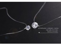 Wholesale Silver Diamond Heart Necklace - 925 Sterling Silver Dazzling Zircon Necklace And Invisible Transparent Fishing Line Simple Pendant 38-40cm Personality N16710