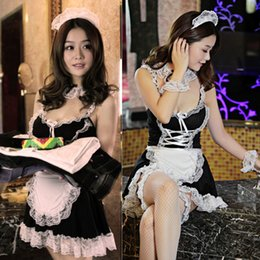 Wholesale Sexy Lingerie Apron Babydoll - Sexy Lingerie Cosplay French Apron Maid Servant Lolita Sexy Costume Babydoll Dress Uniform Erotic Lingerie Role play Hot
