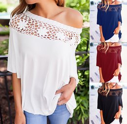 Wholesale Red Off Shoulder Blouses - Women 3 4 Sleeve Sexy Off Shoulder Loose Blouse Casual Flower Crochet Tops T Shirt S M L XL ZL3405