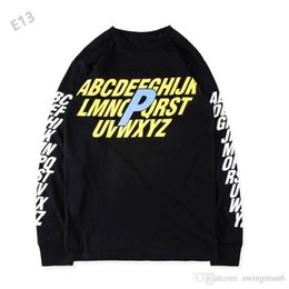 Wholesale Men Longsleeve - 2017 New PALACE Sweater ALPHA LONGSLEEVE letter stamp trend P men and women head long sleeved T-shirt sweater