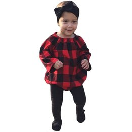 Wholesale Jumpsuits For Spring Sleeves - Wholesale Newborn Rompers Costume Long Sleeve Red Plaid Baby Jumpsuit New 2017 Spring Autumn Infant Romper For Boy Girl Kids Clothes Outfits