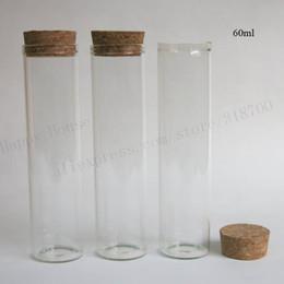 2019 bouteille à bouchon de verre Tube en verre transparent de 20 X 60 ml avec bouchon en bois, tube bouché en liège de 2 oz, bouteille de verre vide tube de bouchon en liège promotion bouteille à bouchon de verre