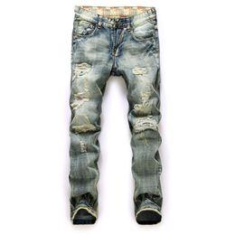 Wholesale Jeans Pants New Design - Wholesale-Fashion Retro Men Jeans 2016 New Men's Straight Hole New Design Slim Fit Jeans Blue Distressed Ripped Pants perfume 212