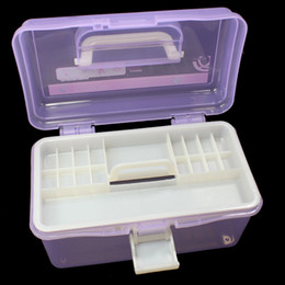 Wholesale Multi Nail Art Craft - New Random Color Multi Plastic Empty 2 layer Storage Case Box Nail Art Craft Makeup Collection