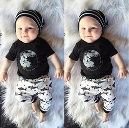 Wholesale Baby Clothes Direct - Factory Direct Sale Children's Summer Clothing Baby Hot Silver Earth Print T-Shirts And Shark Print Trousers Suit