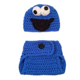 Wholesale Cookie Cover - Crochet Baby Cookie Monster Costume,Handmade Knit Baby Boy Girl Cartoon Blue Monster Hat and Diaper Cover Set,Infant Halloween Photo Prop