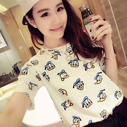 Wholesale Loose Shirt Shorts Korean - 2017 summer new Korean loose short-sleeved Donald Duck T-shirt cartoon women's bottoming shirt shirt wave