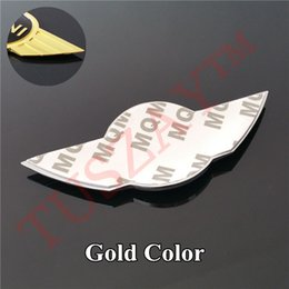 Wholesale Mini Cooper Stickers - Brand New 11.5cm * 5cm Silver Golden Front Bonnet Hood Metal Sticker Rear Trunk Emblem For Mini wing Badge Logo