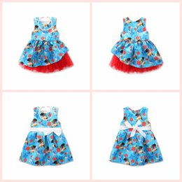 Wholesale Lace Necklace Child - New baby girls Moana dress summer cartoon Children sleeveless bow printing princess dresses Kids Clothing with necklace top quality