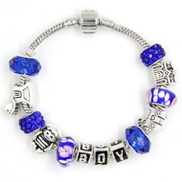 Wholesale Baby Welcome - Newest DIY European Style Blue Lamp work Murano Glass Bead Baby Prom Letter Boy Bracelets for Welcome BOY Gift Jewelry Bijoux Pulsera