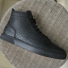 Wholesale Fishing Flats Boots - Drop shipping men womens brand black fish scale pattern leather round toe high top casual shoes,design sneakers flat boot shoes 35-47