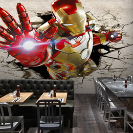Wholesale Men Wall Decor - 3D View Iron Man Wallpaper Giant Wall Murals Cool Photo Wallpaper Boys Room decor TV background Wall Bedroom Hallway Kids Room Free shipping