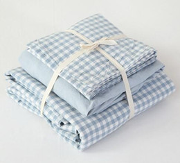 Wholesale Water Check - Japanese style Blue little checks bedding set 100% water washed cotton 4pcs mattress fitted sheet duvet cover pillowcase set B3805