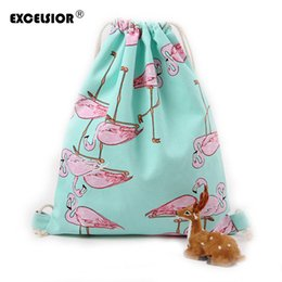Wholesale School Bag Birds - Wholesale- EXCELSIOR Cartoon Birds Printed Women's Drawstring Backpack Portable Canvas School Bags Female String Bag Ladies Travel Pouch
