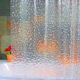 Wholesale Eva Cube - Wholesale- Hot Plastic EVA 3D Shower Curtain Transparent Clear Water Cube Bathroom Curtain