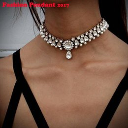 Wholesale Stainless Steel Neck Chains - 2017 Hot Boho Collar Choker Drop Crystal Beads Necklace &pendant Charm Vintage Statement Beads Neck Jewelry